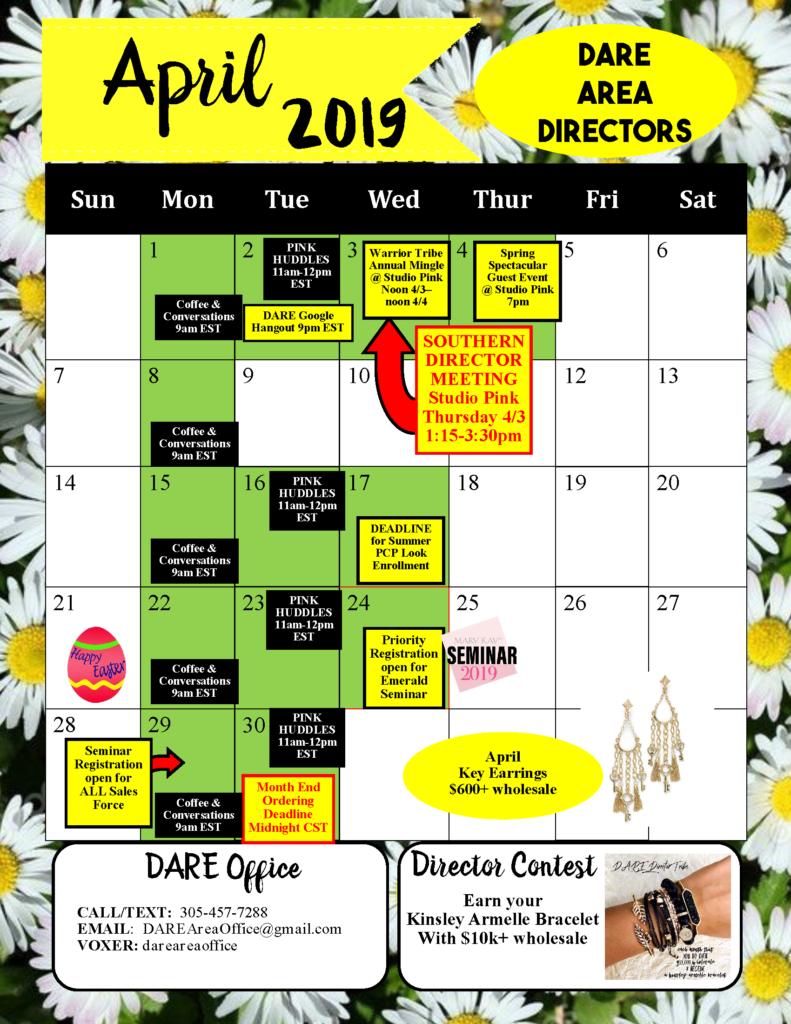 April 2019 calendar Dacia Directors