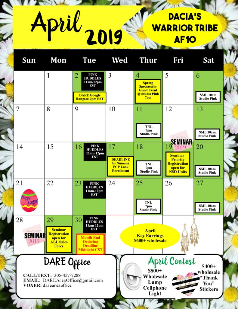 April 2019 calendar Dacia Unit
